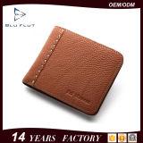 Бумажник человека краткости неподдельной кожи логоса модельера изготовленный на заказ