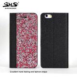 Caixa de couro do telefone de pilha do plutônio do projeto de pedra colorido Shining elegante da carteira para o iPhone 7