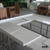 Partie supérieure du comptoir préfabriquée blanche de cuisine de Corian pour la vente en gros