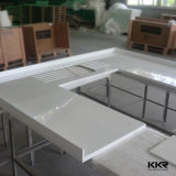 Bancada pré-fabricada branca da cozinha de Corian para a venda por atacado