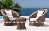 Французский романтичный тип стула стеклянного напольного ротанга Wicker