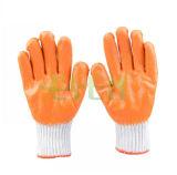 13G oranje AcrylVoering met de Volledige Oranje Ondergedompelde Handschoen van het Latex van het Latex Vlotte & Zwarte Zandige Palm