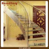 ステンレス鋼材料(SJ-S007)が付いている屋内緩和されたガラスの柵のステアケース