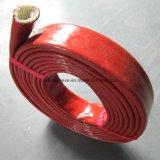Rotes Oxid-silikonumhülltes Glasfaser Sleeving