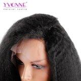 Yvonne 180% 조밀도 흑인 여성 브라질 Virgin 머리 자연적인 색깔을%s 비꼬인 똑바른 레이스 정면 사람의 모발 가발은 출하를 해방한다