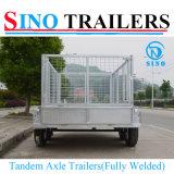 remorques complètement soudées tandem du cadre 4-Wheels galvanisées par 10X5 avec la cage