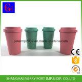 Tazza di caffè di bambù amichevole della fibra del materiale 400ml di Eco con il coperchio ed il silicone