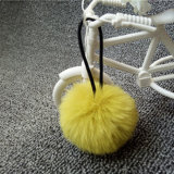 Laço do cabelo do Pompom da esfera 5cm da pele do Pompom da pele