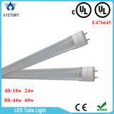 La cubierta lechosa los 8FT clara norteamericana 100-277V de la UL los 4FT escoge la luz caliente terminada del tubo de la UL T8 LED del tubo