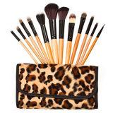 Le balai de renivellement de 12 produits de beauté de PCS avec enroulent le sac de léopard