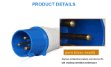Enchufe y socket industriales impermeables, empalme eléctrico, IP44, 16A/32A