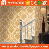 Papel pintado grande de la flor del precio del diseño italiano barato del damasco para la decoración de la pared interior