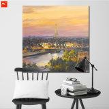 Pittura a olio della Torre Eiffel della stampa di arte di crepuscolo di Parigi