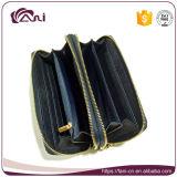 2017女性のための最新の中国のクラッチの財布、刺繍が付いている財布、二重ジッパーの財布