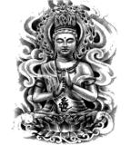 Etiqueta engomada temporal impermeable del arte de carrocería de las etiquetas engomadas del tatuaje de Buddha de la pierna del brazo