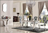 De speciale Typische Lange die Eettafel van de Rechthoek met Hoogste Glas wordt geplaatst