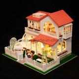 Cor-de-rosa de madeira educacional do presente do Natal do brinquedo do enigma da casa 3D do miúdo casa ideal DIY da melhor