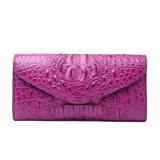 Pochette de course de crocodile de sac d'embrayage de cuir véritable de Madame Luxury grande
