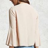 Damas de moda gasa bandage llamarada manga corta blusa