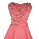 Stickerei-Luxuxsatin-Kurzschluss-Abend-Kleid-elegantes Bankett-Abschlussball-Kleid 2017