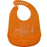 Elefante cor-de-rosa Roupa macia FDA / LFGB Aprovação Baby Wear Babador de silicone com Catcher
