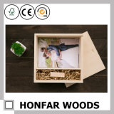 Caixa de jóia de madeira personalizada da caixa de armazenamento de Brown do logotipo para o presente