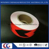 Bande matérielle r3fléchissante adhésive de PVC avec le signe de flèche