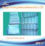100%年の綿の医学の漂白された吸収性の外科ジグザグ形のガーゼ