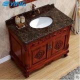 Шкаф ванной комнаты твердой древесины на классике тазика мрамора пола