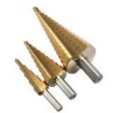 cortador Titanium del orificio del dígito binario del paso de progresión de 3PCS HSS del taladro de acero del cono con la asta plana tres