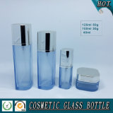Leere quadratische kosmetische Öl-Glasflasche und Kosmetik-Sahneglas