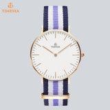 Anillo de Oro Rose Series clásico de cierre de reloj de cuarzo, señora reloj, correa de nylon 71326