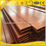 Aluminium tubulaire de section d'aluminium d'OIN 9001 d'approvisionnement d'usine avec la couleur de bois de construction