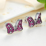 Minnie Design Pink Cubic Zircon Stone 925 Sterling Silver Stud Earrings