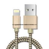 """Cabo de alumínio do USB da trança do teste padrão do algodão """"W"""" do mini tamanho do relâmpago para o iPhone 6s mais o SE"""