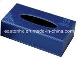 スカイブルーPUのMDF材料が付いている革長方形のティッシュボックス