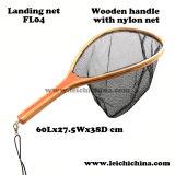 フライフィッシングの木フレームの底が付いているナイロンたも網