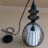 Lámpara pendiente pintada de pájaro del estilo chino del hierro negro de la jaula