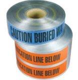 Il nastro d'avvertimento sotterraneo di avvertenza per protegge il tubo di telecomunicazione