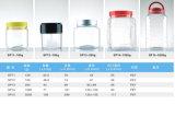bouteille en plastique d'animal familier transparent en aluminium du chapeau 300ml pour la nourriture, casse-croûte, biscuits, empaquetage de sucrerie