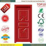 Porte en bois de chambre à coucher de porte de PVC de porte