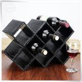 Contenitore di cuoio nero reso personale di vino delle caselle di memoria dell'unità di elaborazione