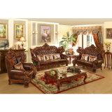 ホーム家具(525)のためにセットされる木製の革ソファー