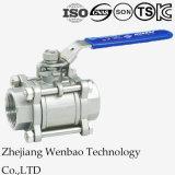 Válvula de bola industrial del hilo de rosca femenino 3PC con el actuador