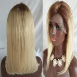 """18 """" Ombre Non-Remy Haar-Perücke-Spitze-Stirnbein-Haar des Haar-130% Hand gebundenes"""