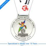 Ouro olímpico do esmalte feito sob encomenda do selo/prata/medalha de bronze do esporte do metal
