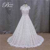 Spitze-Fußleisten-hochwertiges Chiffon- Hochzeits-Kleid