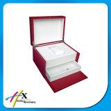 Blancos puros de gran tamaño de lujo de 2 capas escogen el rectángulo de almacenaje del reloj con el cajón