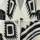 女性特別なデザインフリンジの毛皮のポンチョのセーター