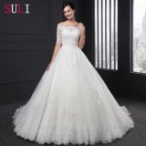 Half Sleeves Crystal Appliques Lace Bridal Wedding Dress (SL-015)